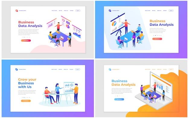 Векторная иллюстрация совместной работы, бизнес-анализа и стратегии. набор современных концепций векторные иллюстрации для разработки веб-сайтов и мобильных сайтов.
