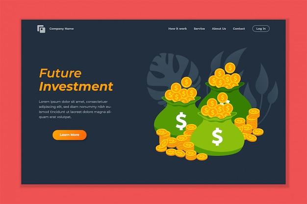 Инвестиционный веб-баннер фон шаблона