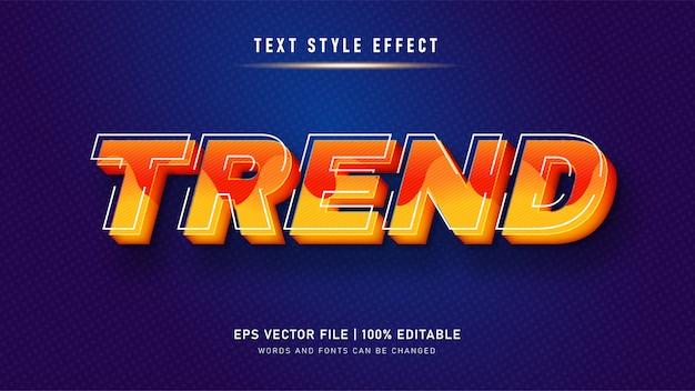 Желтая тенденция стиль текста эффект. редактируемый текстовый эффект