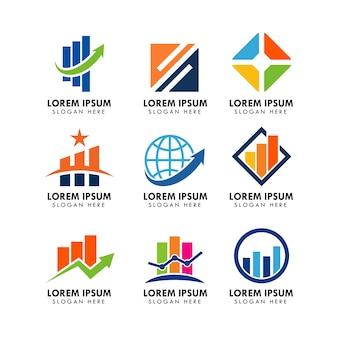 ビジネスと金融のロゴデザインテンプレートのセット