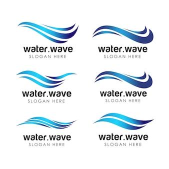 水産業のロゴとアイコンのテンプレート。流れる水のロゴデザイン