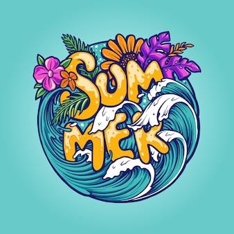 こんにちは夏の熱帯のビーチのコンセプト