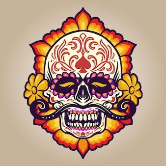 手描きの花とディアデムエルトスの頭蓋骨