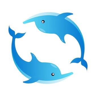 Плоская иллюстрация дельфин