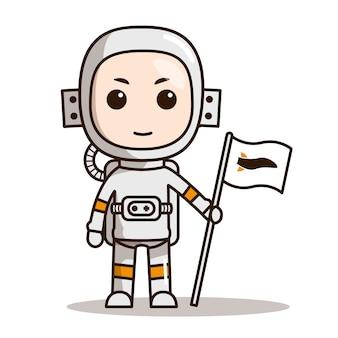 宇宙飛行士ちびキャラクターデザインマスク付き