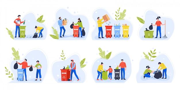 ごみを分別する人たち。環境の日はゴミをリサイクルし、子供連れの家族はゴミを分別し、環境汚染のイラストセットを削減するために分別します。ゴミ箱を持ったエコ活動家