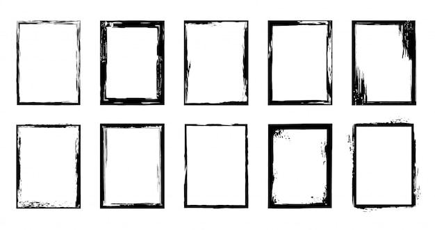 グランジフレーム。インクブラシストロークの境界線、芸術的なブラシのしみ、黒のペイントフレーム要素セット。白い背景の上の大まかな長方形のフレームのコレクション。乾いた筆