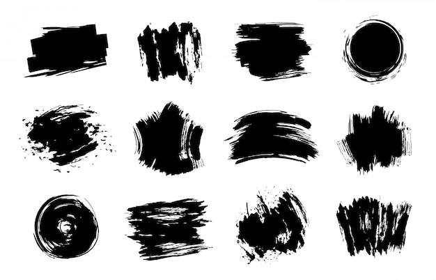 グラフィックテクスチャ要素。グランジストローク、芸術的なテクスチャブラシストローク、ダーティライン要素セット。白い背景の異なる黒見本。乱雑なしみとスポット