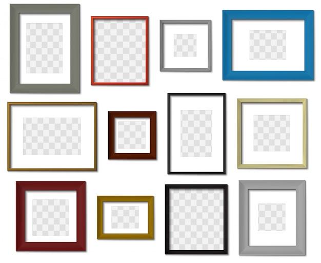 フォトフレーム。壁の画像の異なる色のフレーム、現実的な影が設定されたモダンな正方形の境界線。透明な背景の最小限のインテリア額縁モックアップ。写真の境界線