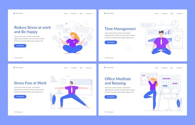 Офисная медитация и отдых. деловые персонажи отдыхают на работе, люди в офисе практикуют позы йоги, никаких стрессовых шаблонов целевой страницы. набор макетов домашней страницы для управления стрессом