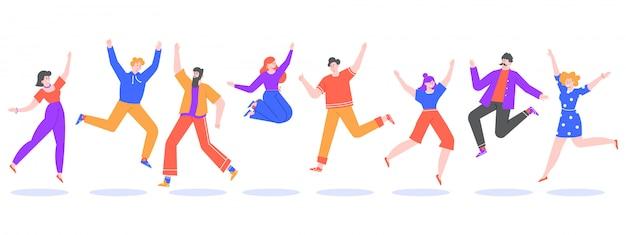 Молодые люди прыгают. прыжки студентов, возбужденных, улыбающиеся группы счастливых подростков, радостное молодые люди прыгали вместе иллюстрации. успешные персонажи победителей мужского и женского пола