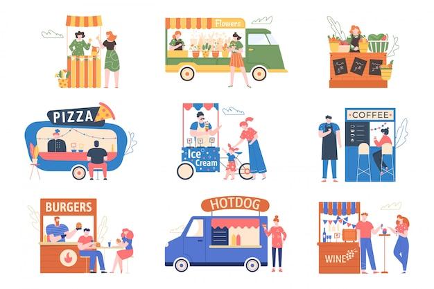 Ларек. уличная стойка ярмарка, палатки с едой, продуктами, кофе и цветами. персонажи покупают и продают на улице справедливой, рыночная улица иллюстрации набор. киоски быстрого питания, тележка для мороженого