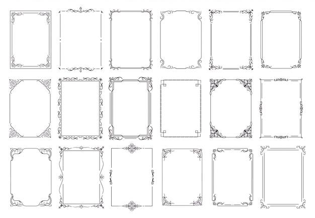 Старинный орнамент кадра. декоративные рамки, рамка в стиле ретро. набор элегантный винтажная рамка и свадебные украшения иконы. каллиграфическая коллекция бордюрных черных бордюров