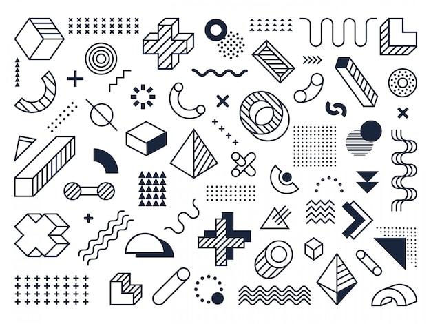 グラフィカルなメンフィス要素。レトロな幾何学的要素、メンフィススタイルのファンキーなモダンなプリントシンボルコレクション。ビンテージモノクロの幾何学的図形。現代的なバウハウスのオブジェクト