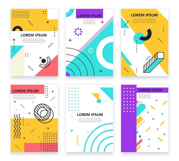 抽象的なメンフィスポスター。グラフィカルなミニマルなメンフィスフレーム、抽象的な円、線と点の要素、カラフルなレトロな幾何学的な招待状セット。印刷可能なパンフレットのページ