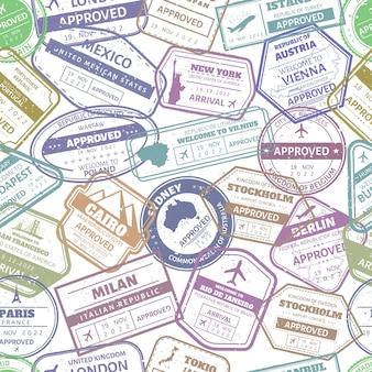 グランジ旅行スタンプシームレスパターン。パスポートビザ国際到着スタンプ。アメリカ、フランス、イタリアの空港のカシェフレームの背景