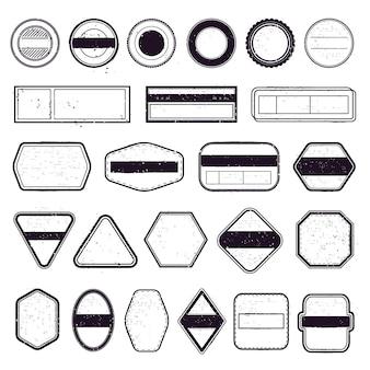 ヴィンテージ旅行スタンプ。消印テンプレート、トラベルメーリングラベル、航空ボーダースタンプフレーム。切手フレームのアイコンを設定