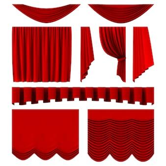 Красные сценические шторы. реалистичные театральные декорации, драматические красные роскошные шторы. алые шелковые бархатные шторы иллюстрации набор. кино, кинотеатр интерьерный декор