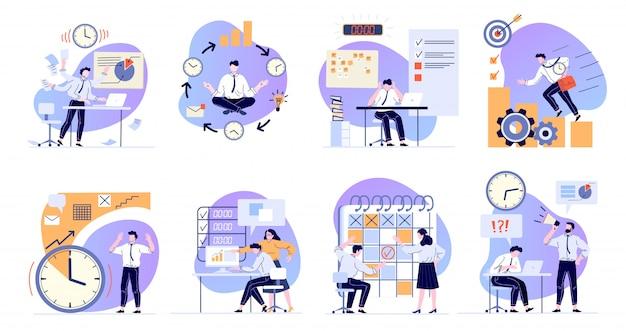 時間管理。作業タスクのスケジュール、期限スケジュール、コンピューターフラットイラストセットを扱うオフィスマネージャー。仕事のストレスと問題解決。ビジネスワークフロー組織