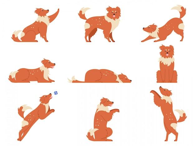犬の動き。面白い犬の活動、走ったり、遊んだり、寝たりするさまざまなポーズのかわいい動物キャラクター。犬のアクショントレーニングとトリックのイラストセット