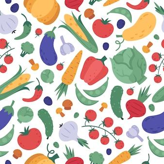 野菜のシームレスなパターン。ベジタリアンのカラフルな野菜のラッピング、漫画の天然物ビーガン生地、食事メニューのデザインを落書き。有機野菜の背景。健康的なデトックス食べるテクスチャ