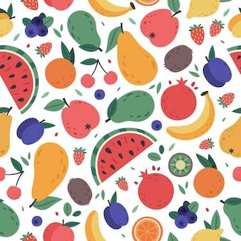 果物のシームレスなパターン。手描き落書きフルーツ、果実の包装紙、ビーガン生地やベジタリアンの食事メニュー、スイカ、マンゴー、バナナ、イチゴの背景。トロピカルジュース製品
