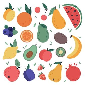 手描きの果物。収穫、柑橘類、アボカド、リンゴ、自然菜食主義の甘い夏の果物を落書き。トロピカルオーガニックフルーツ、おいしいキッチンフードイラストセット