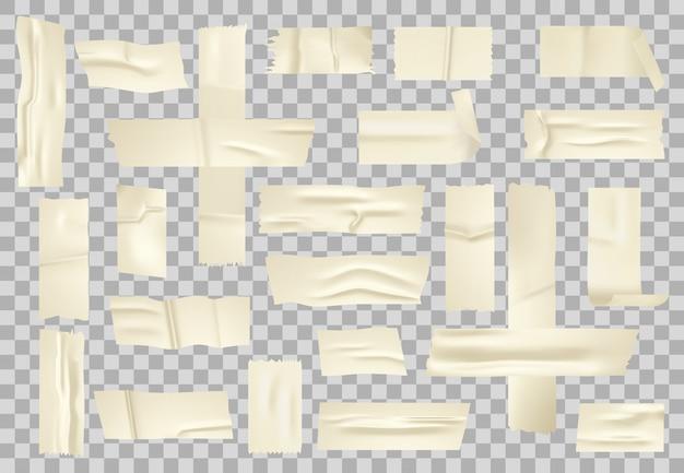 粘着紙テープ。ベージュの断熱紙の粘着性のある部分、スティックのりのテープ、テープのストライプのセット。現実的な産業しわスコッチ、セロテープ