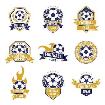 サッカーチームのラベル。サッカーボールクラブのロゴ、スポーツリーグ選手権ステッカー、サッカー競争シールドエンブレムアイコンセット。ゲームシールドラベルチャンピオンシップおよびチームサッカーリーグ