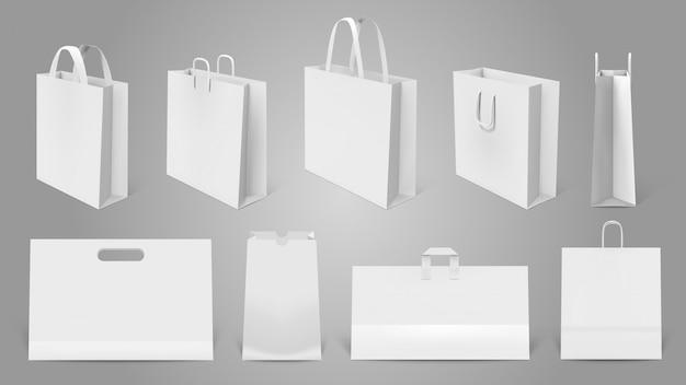 リアルなショッピングバッグ。ホワイトペーパーの空のバッグ、モダンなショッピングバッグのモックアップ。パッケージテンプレートイラストセット。リアルなバッグとハンドル付きの空の小売商品パック