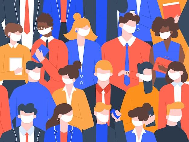 医療マスクの人々。コロナウイルス隔離、社会的距離のシームレスな群集パターン。ウイルス感染保護の図。人々医療マスク、汚染からの保護