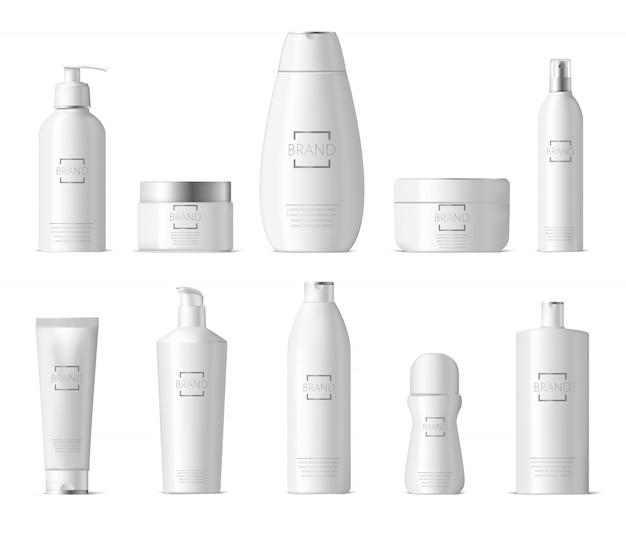 リアルなコスメティックパッケージ。プラスチック製の化粧品ボトルの美容ケア、ボディローション、フェイシャルクリーム、液体石鹸のボトルイラストセット。コンテナローションクリーム、化粧品パッケージコレクション