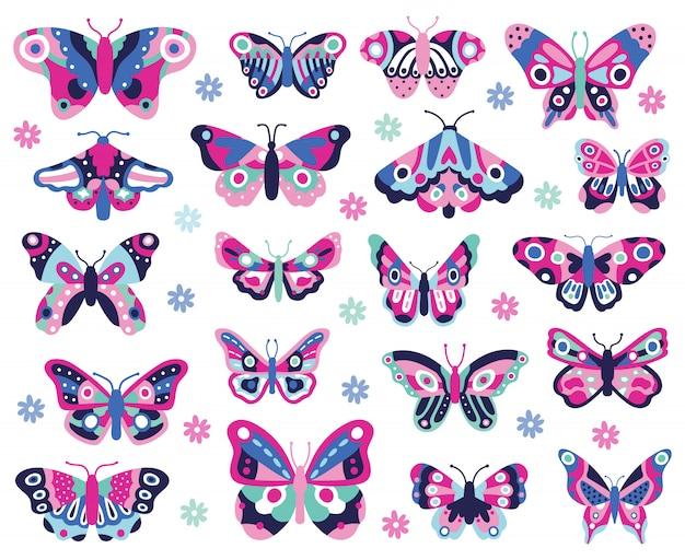 蝶の昆虫を落書き。手描きの春の昆虫、カラフルな飛行パピヨン。蝶のアイコンのコレクションを描画します。蝶昆虫描画色、夏の自然のイラスト