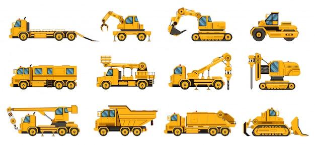 建設用トラック。機器建設用トラック、掘削クレーントラック、トラクター、ブルドーザー、大型エンジンイラストセット