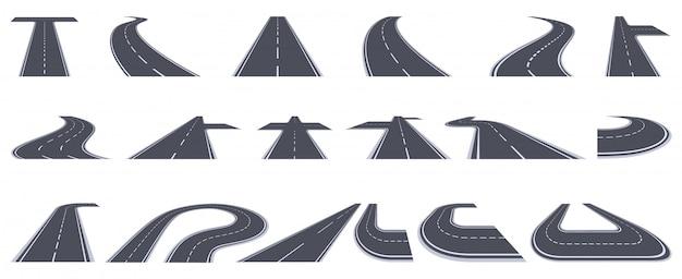道路です。アスファルト道路の曲がり、カーブした遠近道路、都市の曲がりくねった町のパスのイラストセット。アスファルトラインターン、トラックの前進速度方向