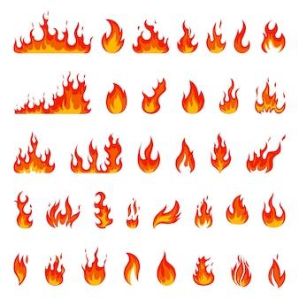 漫画の炎。火の玉、赤いホットキャンプファイヤー、黄色の熱野火とたき火、火力の燃えるようなシルエットイラストセットを燃やします。火球パワーライト、火炎たき火エネルギー