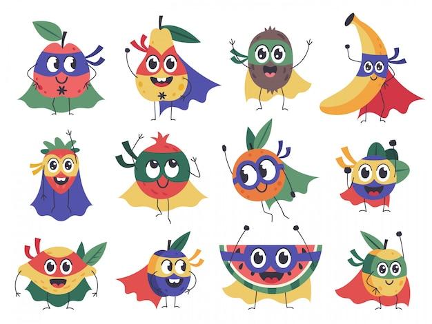Супергерой фруктовый. симпатичные, забавные персонажи фрукты супергероя, смелый банан, клубника и лимон талисманы в набор иконок плащ костюм. смелые фрукты в маске плаща, груши и сливы