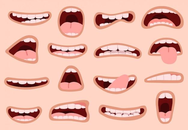 Мультяшный ротик. вручите вычерченный смешной шуточный рот с языками, смеясь над губами карикатуры эмоций, установленными значками иллюстрации выражений лица. мультфильм рот и комический забавный персонаж