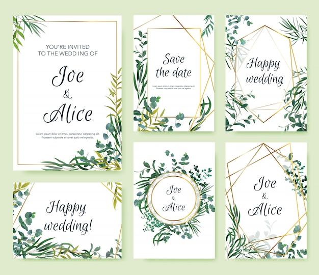 結婚式の招待状のフレーム。花のエレガントな招待カード、花の葉のフレームテンプレート。モダンなスプリングゴールドフレームイラストセット。招待状結婚式の植物カード、正方形のフレームバナー