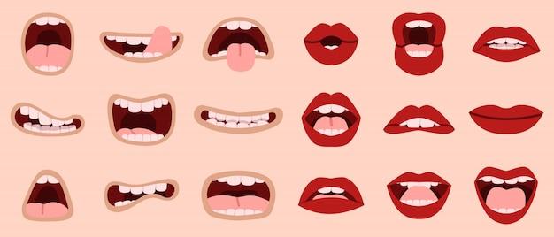 漫画かわいい口。手描きの漫画の口と唇、歯で笑って、舌似顔絵口イラストアイコンセットを示します。メイクアップリップ、舌貼り、ロマンチックで叫び