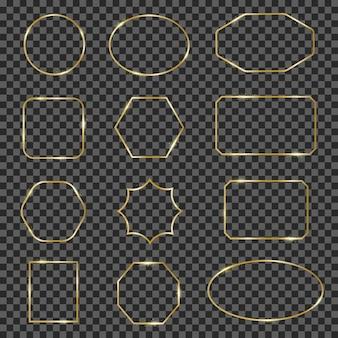 Золотые блестящие рамки. золотая блестящая геометрическая линия обрамляет бордюр, изящные роскошные светящиеся бордюры. современные золотые рамки иллюстрации набор. коллекция геометрическая золотая рамка, золотая кайма