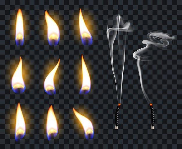 現実的なキャンドルの炎。ろうそくの火の炎、ろうそくの温かみのある火傷。火は透明な炎の図記号セットを照らします。暖かい光が光り、灯りが灯心を照らす
