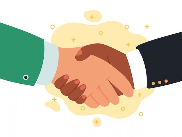 ハンドシェイク通信。手を振ってパートナーシップ、ビジネスの成功の合意、チームワーク、挨拶または取り引き握手イラスト。プロの挨拶ビジネスマン、企業取引