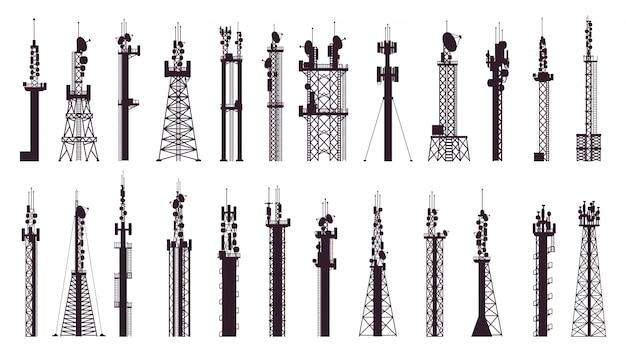 通信塔アンテナ。放送技術テレビ、ラジオ信号局。無線セルラータワーイラストアイコンセット。放送機器、インターネットにそびえるワイヤレス技術