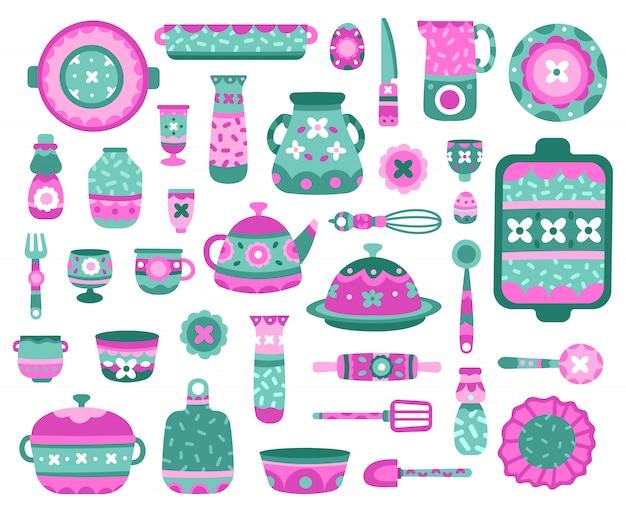 漫画のキッチン料理。セラミック食器、料理、ティーポット、カップ、プレート、磁器セラミック食器イラストアイコンセット。キッチン用品、ディナー用品、ピッチャー彫刻、マグカップ、ティーポット