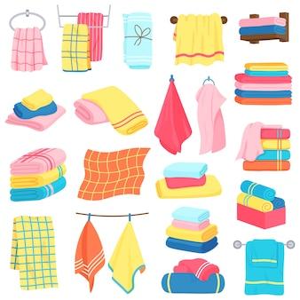 バスタオル。布漫画ふわふわバステキスタイル。バスルーム、キッチンの柔らかい布タオルイラストアイコンセット。ファブリックホテルテキスタイル、バスタオル