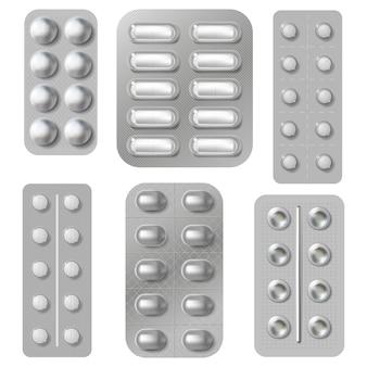 Блистерные таблетки и пилюли пачки. реалистичная медицина, витамины, капсулы и упаковка антибиотиков. комплект упаковки фармацевтических препаратов. фармацевтическая таблетка и иллюстрация антибиотика