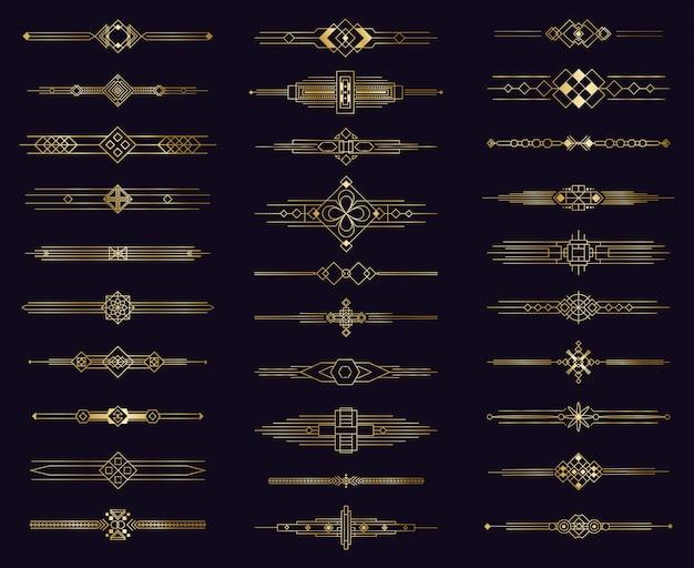 アールデコゴールドディバイダー。モダンなゴールデンエレガントなボーダー、装飾的なアンティーク飾り。ビンテージアラビア語の幾何学的な仕切りのアイコン要素を設定します。イラスト枠メニュー仕切り、テンプレートラベルページ
