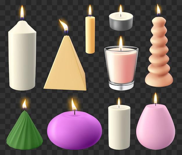 現実的なキャンドル。休日キャンドルライト、ロマンチックな燃えるようなワックスキャンドル、結婚式や誕生日のキャンドルイラストアイコンセット。クリスマスとロマンチックなリラクゼーションへの図燭台