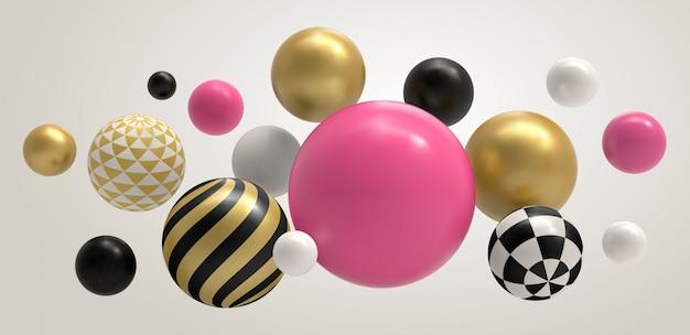 現実的な抽象的なボール。幾何学的なメンフィスの組成、幾何学的な基本的な球の色の概念の背景イラスト。球体ボールとバブルカラーマルチカラーパターンボール